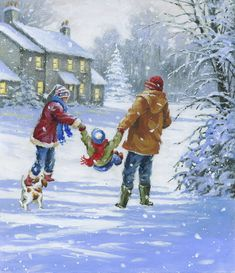 Leading Illustration & Publishing Agency based in London, New York & Marbella. Winter Christmas Scenes, Christmas Scenery, Noel Christmas, Winter Scenes, Christmas Pictures, Vintage Christmas, Christmas Greetings, Disney Merry Christmas, Dream Pictures