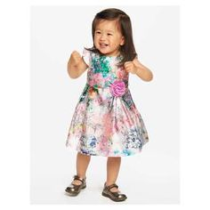 Kelly Pastel Floral Dress | An impressionist-inspired watercolor print enchants on every inch of this cap sleeve shantung dress. The mallow purple rosette at the bodice and inverted pleats at the skirt show off the total cuteness.