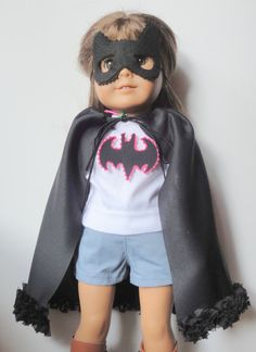 American Girl Doll Cape Mask and Appliqued Shirt by alphabulous, $24.00