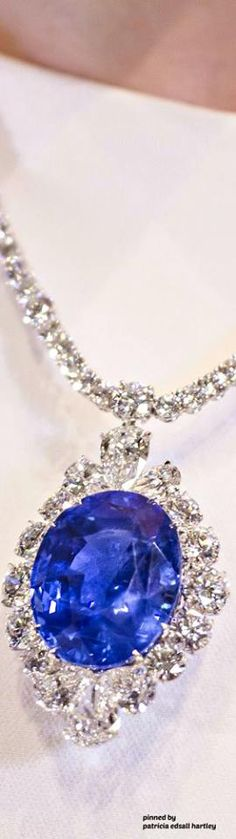 A unheated Burmese sapphire is surrounded by 136 colourless diamonds in this striking necklace from Bayco High Jewelry, Luxury Jewelry, Jewelry Box, Sapphire Necklace, Sapphire Jewelry, Mode Glamour, Blue And Silver, Dark Blue, Bangle Bracelets