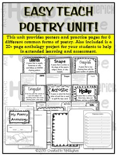 PERFECT FOR NATIONAL POETRY MONTH! Finally, an EASY TEACH unit that will have your kiddos writing 6 common forms of poetry in no time.  ($)