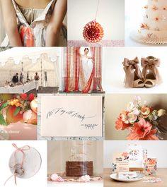 {Butterscotch and Peach}  Mood: romantic, whimsical  Palette: orange, peach, cream, butterscotch