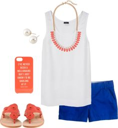Jack Rogers sandals, white tank and royal blue shorts with pearl studs.but don't like to wear shorts. Blue Shorts Outfit, Royal Blue Shorts, Color Shorts, Spring Summer Fashion, Spring Outfits, Short Outfits, Cute Outfits, Preppy Style, My Style