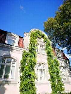 Begrünte Fassade einer schmucken alten Villa vor strahlend blauem Himmel in Oerlinghausen am Hermannsweg in Ostwestfalen-Lippe bei Bielefeld