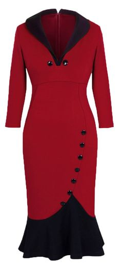 Homeyee Women's V neck Ball Fishtail Pencil Dress UB27 in Red (other colors available)