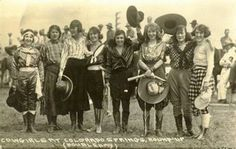 "Vintage postcard: ""Cowgirls at Colorado Springs, Round-Up"" circa 1920's"