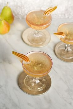 Official Cocktail of the 2014 Golden Globes: The Moet Golden Night with pear brandy, cardamom syrup, and bubbles from www.aidamollenkamp.com