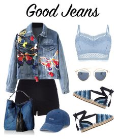 """Good Jeans"" by mayrae-sanchez ❤ liked on Polyvore featuring River Island, WithChic, Lipsy, Jimmy Choo, Rebecca Minkoff, SO, Christian Dior and denim"