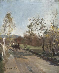 Edvard Munch (Norwegian, 1863-1944), Horse and Cart on a Country Road, 1880. davidcharlesfoxexpressionism.com