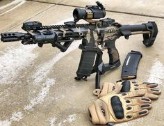 """📸 ・・・ 's new """"Python"""" tactical gloves and a custom 300 blackout. It's gonna be a good day."""