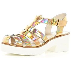 cd94bfe24b7813 River Island Gold holographic block heel gladiator sandals (350 MYR) ❤ liked  on Polyvore featuring shoes