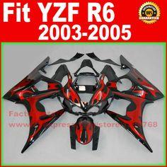 HOT motorcycle fairings kit for YAMAHA R6 2003 2004 2005 YZF R6 03 04 05  red flame black fairing kits body repair part #Affiliate