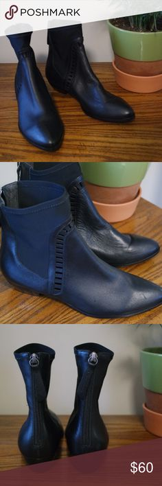 """Matisse Otto Pointy Toe Chelsea Boot This richly detailed boot features stretchy neoprene goring panels that wrap around the topline, an arch of slender leather straps over the front and a dramatic pointy toe as a finishing touch.  Heel Style:Block/Chunky 1 1/2"""" heel  6"""" boot shaft Back zip closure Leather and synthetic upper/synthetic lining and sole By Coconuts by Matisse; made in Brazil Matisse Shoes Ankle Boots & Booties"""