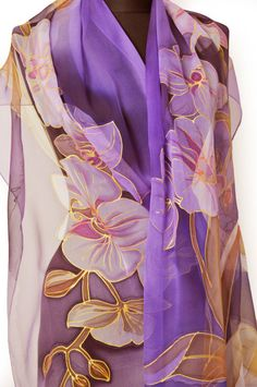 Violet Handpainted silk chiffon scarf/Painting by hand