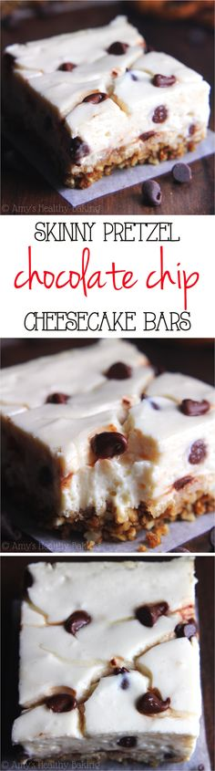 Skinny Chocolate Chip Pretzel Cheesecake Bars -- Serves 109 calories a serving Healthy Baking, Healthy Desserts, Just Desserts, Delicious Desserts, Yummy Food, Healthy Foods, Chocolate Chip Cheesecake Bars, Cheesecake Recipes, Dessert Recipes