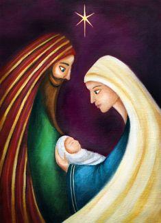 Ileana Oakley - Mary, Joseph and baby Jesus painting. Christmas Rock, Christmas Nativity, Christmas Crafts, Xmas, Nativity Painting, Tole Painting, Christmas Drawing, Christmas Paintings, Jesus Painting