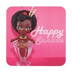Chocolate Sundae Pin up Girl Beverage Coaster - girl gifts special unique diy gift idea