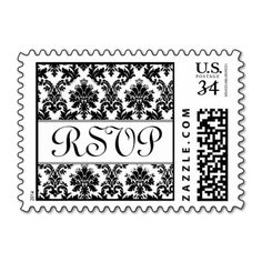 Black  and White Wedding Bride Groom Damask Postage #wedding #stamps #love #marriage #romance #bride #groom #jaclinart #love #postage #black #white #damask