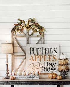 Product Details Pre-Lit Pumpkins Apples Hayrides Wood Plank Plaque Add a festive feeling to your family gatherings with our Harvest Collection. Thanksgiving Decorations, Seasonal Decor, Holiday Decor, Autumn Decorations, Decoration Inspiration, Autumn Inspiration, Decor Ideas, Craft Ideas, Fall Home Decor