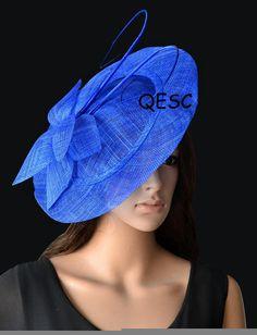 b0ab8ca9cc8dc Cobalt blue fascinator BIG saucer Sinamay Fascinator Hat with ostrich spine  for wedding.