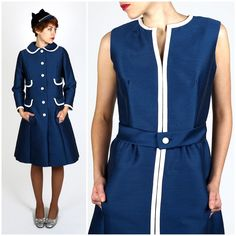 Vintage 1950s Mod Blue & White Silk Wool Dress and Matching Jacket w/ Peter Pan Collar and Four Faux Pockets by Sandra Sage | Small/Medium by AnimalHeadVintage on Etsy