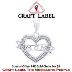 """1/10 Ct Round Brilliant Cut 14K Gold Heart With Mom Pendant Without Chain """"Mother\'s Day Gift"""". Starting at $1"""