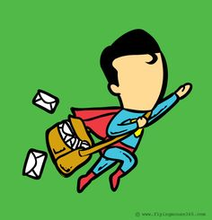 Superman as a mail man. If Superheroes had Part-time Jobs Graphic Design Project by Hon Chow #graphic #superheros