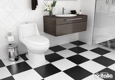 El contraste de colores blanco y negro, nunca pasara de moda en la decoración. Se trata de la combinación de dos colores que se encuentran en extremos opuestos por lo que el resultado es un ambiente explosivo lleno de elegancia y expresión. #ElBañoQueTeMereces #CerámicaItalia #ColoresBaños Bathroom Floor Tiles, Tile Floor, Black White Bathrooms, Contemporary Bathrooms, Toilet, Black And White, Modern, Dolphins, Bathroom Ideas