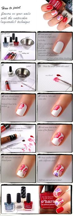 Watercolor flowers - Tutorial | Nailderella #nailart #flowers #tutorial