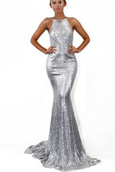 9a8b5fc2e90 Hualong Women Sexy Strap Silver Sequin Maxi Dress