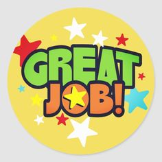 Shop Great job stars employee recognition stickers created by yourockawards. Teacher Stamps, Teacher Stickers, Reward Stickers, Great Job Quotes, Quotes For Kids, Motivation For Kids, Team Motivation, Certificate Of Achievement Template, Award Template