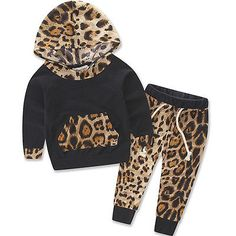 2Pcs Newborn Infant Baby Kid Boy Girl Print Hoodie Tops+Pants Outfit Clothes Set