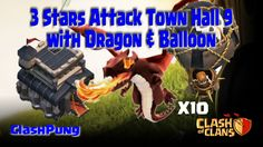 How to attack strategy Town Hall 9 with dragons and balloons for get 3 stars on battle wars clash of clans. Tips: Dragons min level 4 Ballons min level 6 Lig. Dragon Clash Of Clans, Dragons, Stars, Kite, Kites