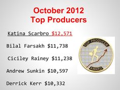 Our Top Producers for the Month of October. Hurricane Sandy, we beat you!!!!