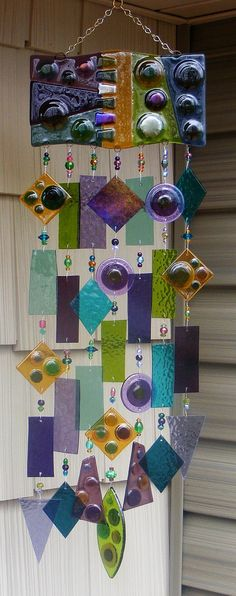 Kirks Glass Art Fused Stained Glass Wind Chime by kirksglassart, $325.00