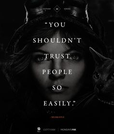"""""""You shouldn't trust people so easily."""" -Selina Kyle (young Catwoman) #Gotham #TV #Batman"""