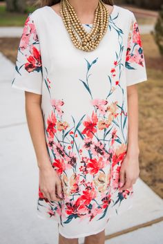 This dress should be a part of your world! It's gorgeous!! And classy!! This is perfect dress for spring weddings and it's not too early to start thinking about an Easter dress!  Material has no amount of stretch. Miranda is wearing the small. Sizes fit: Small- 0-4; Medium- 6; Large- 8-10