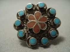 8d52cb96f52 Stunning Vintage Zuni Turquoise Coral Dishta Inlay Sterling Native American  Jewelry Silver Ring