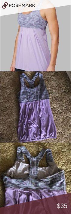 Lululemon power dance tank Lululemon power trance tank in purple space dye. Size 6. Excellent condition. Built in shelf bra with no padding. lululemon athletica Tops Tank Tops