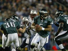 Philadelphia Eagles Donovan McNabb against New England Patriots during Super Bowl 39 in Jacksonville, Fla, on Feb.6, 2005 at ALLTEL Stadium. The Patriots won 24-21. (Albert Dickson/Sporting News via Getty Images)