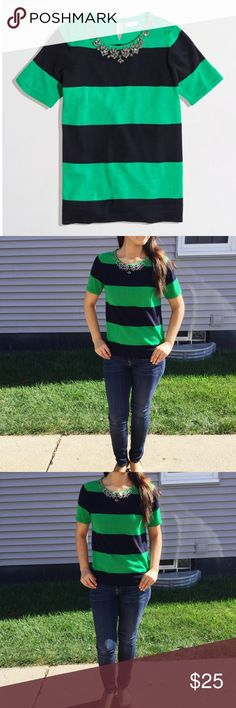 J. Crew Short Sleeve Stripe Necklace Sweater Great condition! No stains or holes. 100% merino wool. Green and Navy Blue J. Crew Tops