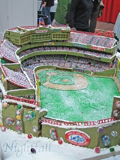Gingerbread Fenway by esmereldes football stadium. Who would have thought to make Fenway from Gingerbread. Awesome