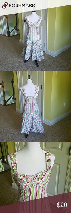 Nanette Lepore Striped Dress. OMG the cutest dress ever!!!!  So sad it doesn't fit me in the chest.  Best suited for C cup or smaller.  Does not have adjustable straps.  Plenty of stretch in material. Nanette Lepore Dresses Midi