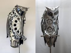 Recycled hubcap animal sculptures by Ptolemy Elrington