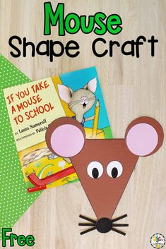 Are you looking for a book-inspired craft for your kids? After reading one of the mouse books by Laura Numeroff or any other mouse themed story, your kids will have fun creating this Mouse Shape Craft! Not only will this book-inspired craft help kids practice recognizing and naming shapes, but it will help them develop their fine motor skills too. Click on the picture to learn how to make this craft for kids and get the free printable templates! #craftforkids #bookinspiredactivity #preschool