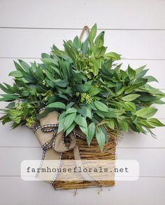 Mixed Forest  Greenery Door Hanger Basket Wreaths For Front Door, Door Wreaths, Grapevine Wreath, Front Porch, White Ranunculus, Hanging Baskets, Door Hangers, Artificial Flowers, Grape Vines