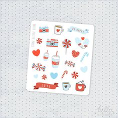 A cute set of 25 glossy decorative stickers, inspired by peppermint candy! They can be used on any planner, journal or scrapbook, have a glossy