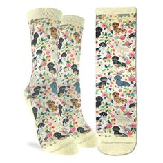 Get playful with these adorable dachshund puppies hanging out with colorful spring flowers. We think everyone can agree that these cute printed socks should be worn by every dog and dachshund lover alike. Dachshund Puppies, Dachshunds, Wiener Dogs, Good Luck Socks, Halloween Socks, Dog Socks, Family Gifts, Sock Shoes, Fit Women