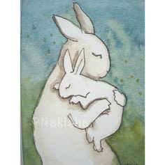 Bunny Hug  Small Archival Fine Art Print by bluedogrose on Etsy, $8.00