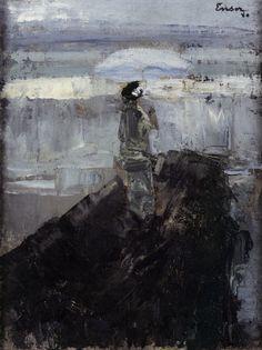 James Ensor, Woman on a Breakwater (1880), oil on canvas, 22 x 30.7cm.